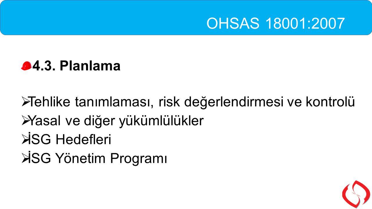 OHSAS 18001:2007 4.3. Planlama. Tehlike tanımlaması, risk değerlendirmesi ve kontrolü. Yasal ve diğer yükümlülükler.