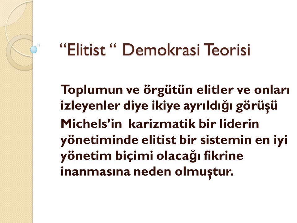 Elitist Demokrasi Teorisi