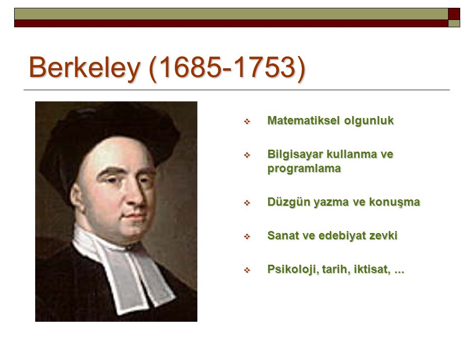 Berkeley (1685-1753) Matematiksel olgunluk