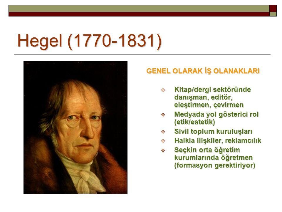 Hegel (1770-1831) GENEL OLARAK İŞ OLANAKLARI