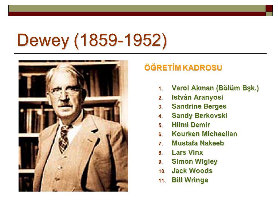 Dewey (1859-1952) ÖĞRETİM KADROSU Varol Akman (Bölüm Bşk.)