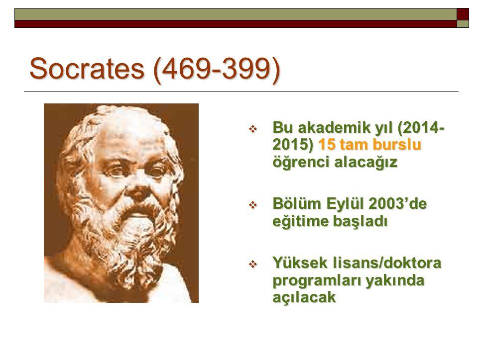 Socrates (469-399) Bu akademik yıl (2014-2015) 15 tam burslu öğrenci alacağız. Bölüm Eylül 2003'de eğitime başladı.