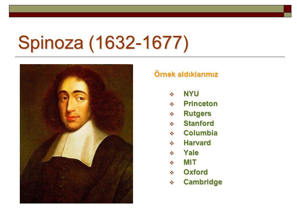 Spinoza (1632-1677) Örnek aldıklarımız NYU Princeton Rutgers Stanford
