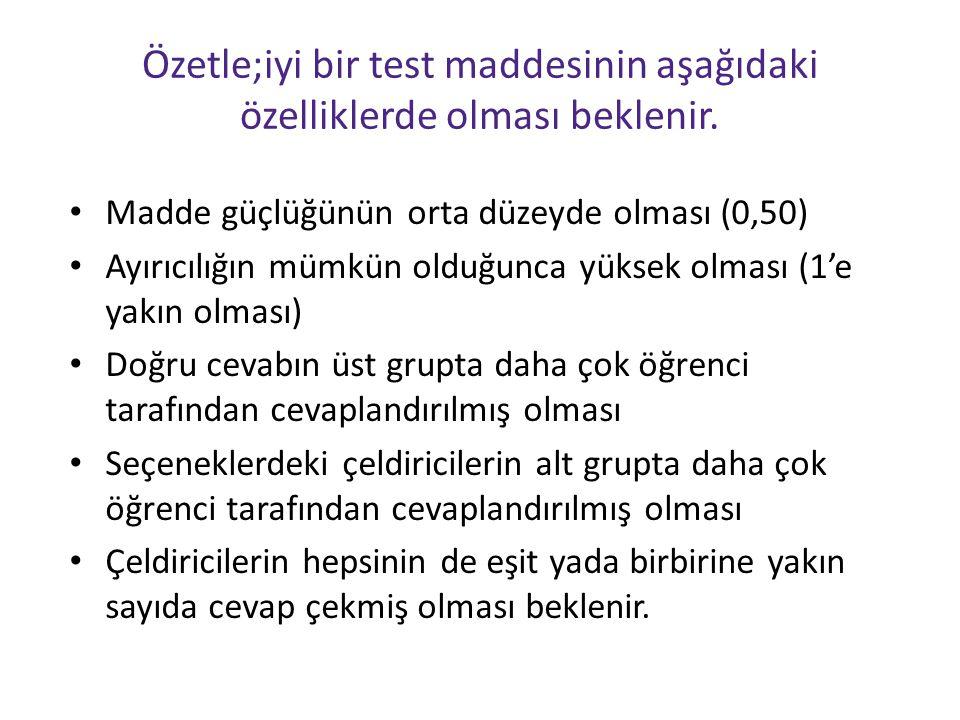 Özetle;iyi bir test maddesinin aşağıdaki özelliklerde olması beklenir.