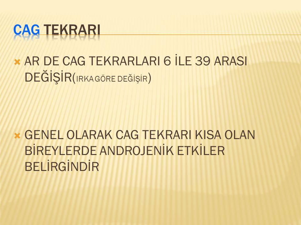 CAG TEKRARI AR DE CAG TEKRARLARI 6 İLE 39 ARASI DEĞİŞİR(IRKA GÖRE DEĞİŞİR)