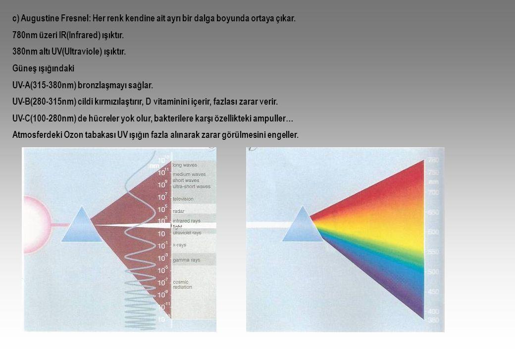 c) Augustine Fresnel: Her renk kendine ait ayrı bir dalga boyunda ortaya çıkar.