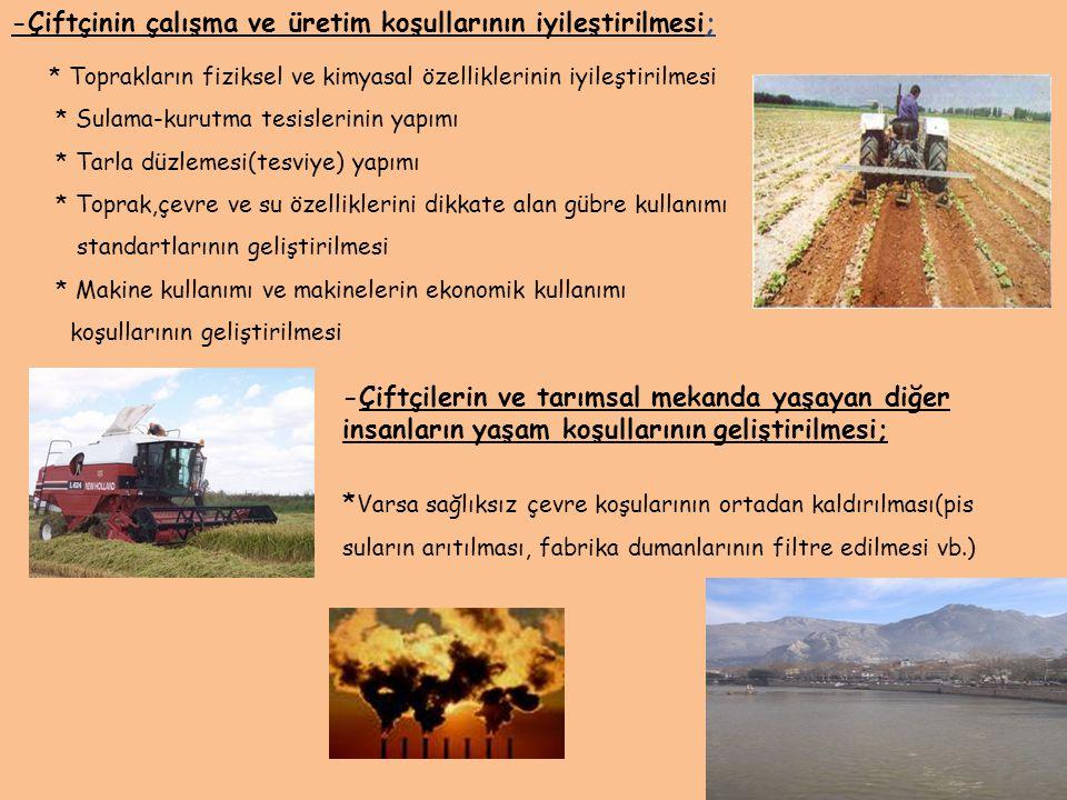 -Çiftçinin çalışma ve üretim koşullarının iyileştirilmesi;