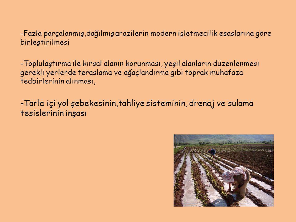 -Fazla parçalanmış,dağılmış arazilerin modern işletmecilik esaslarına göre birleştirilmesi