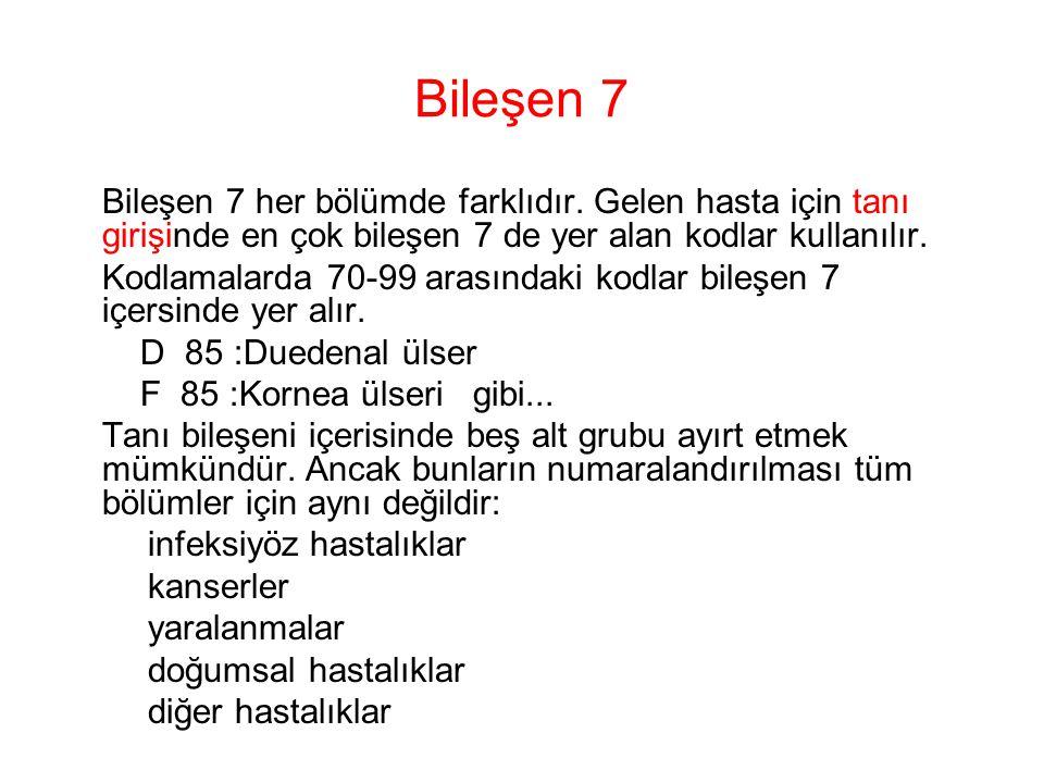 Bileşen 7 Bileşen 7 her bölümde farklıdır. Gelen hasta için tanı girişinde en çok bileşen 7 de yer alan kodlar kullanılır.