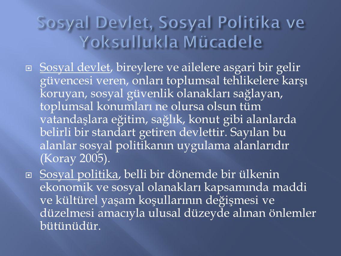Sosyal Devlet, Sosyal Politika ve Yoksullukla Mücadele