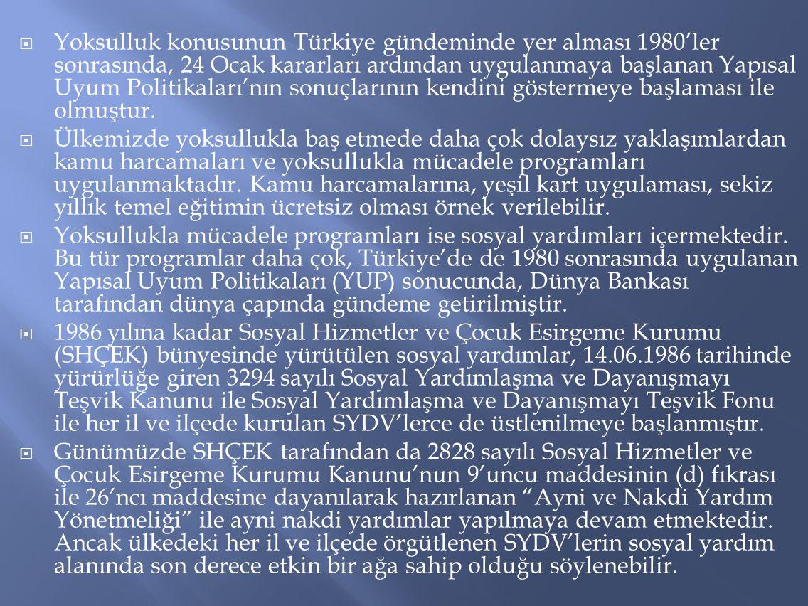 Yoksulluk konusunun Türkiye gündeminde yer alması 1980'ler sonrasında, 24 Ocak kararları ardından uygulanmaya başlanan Yapısal Uyum Politikaları'nın sonuçlarının kendini göstermeye başlaması ile olmuştur.
