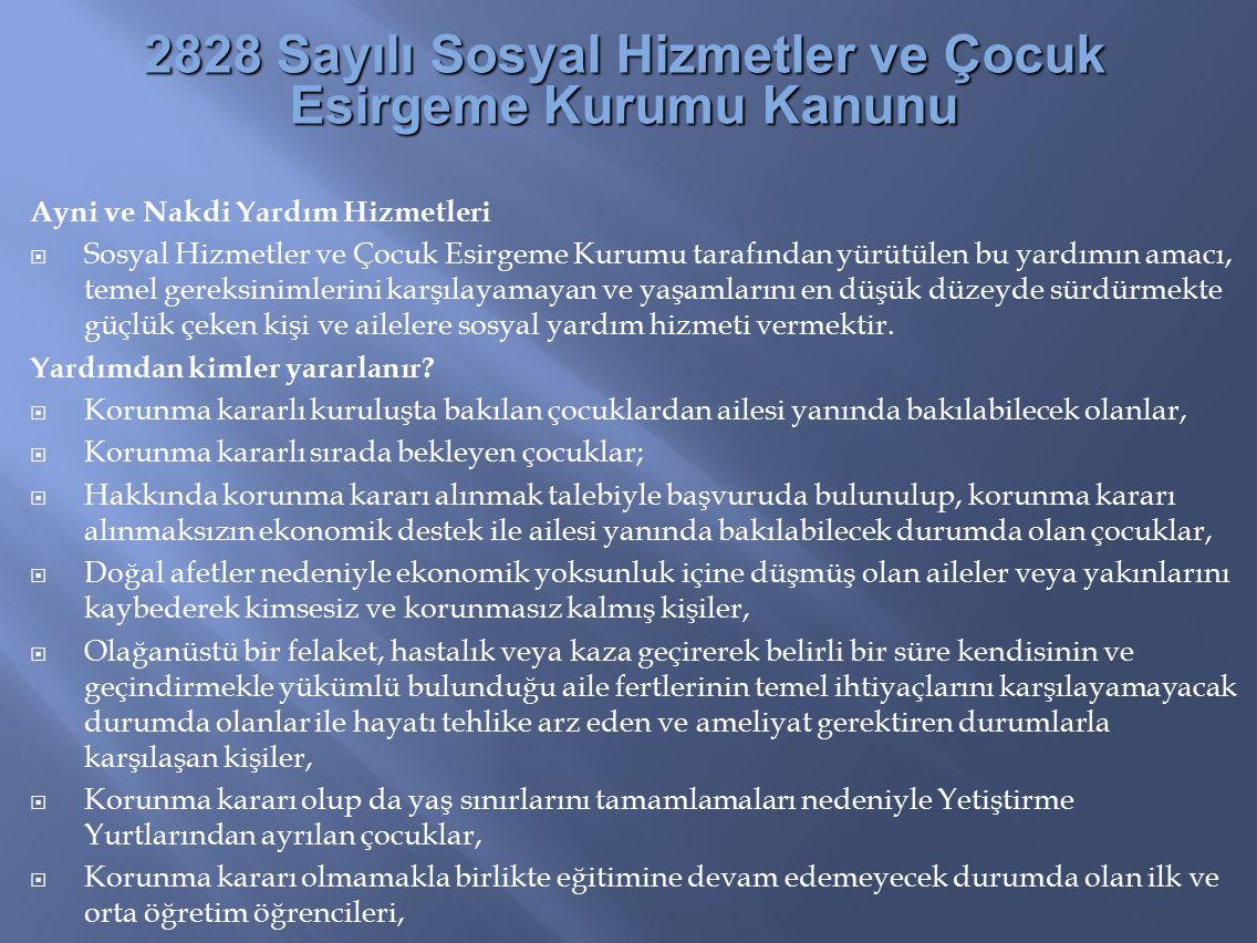 2828 Sayılı Sosyal Hizmetler ve Çocuk Esirgeme Kurumu Kanunu