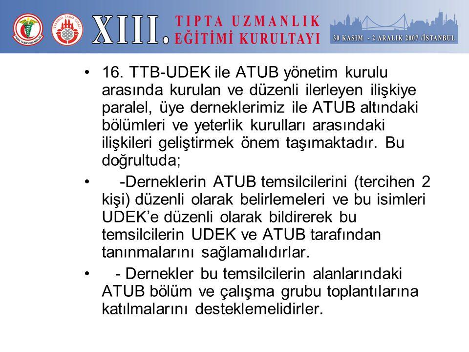 16. TTB-UDEK ile ATUB yönetim kurulu arasında kurulan ve düzenli ilerleyen ilişkiye paralel, üye derneklerimiz ile ATUB altındaki bölümleri ve yeterlik kurulları arasındaki ilişkileri geliştirmek önem taşımaktadır. Bu doğrultuda;