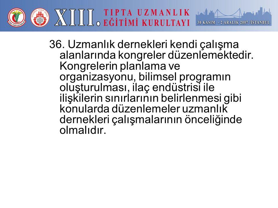 36. Uzmanlık dernekleri kendi çalışma alanlarında kongreler düzenlemektedir.