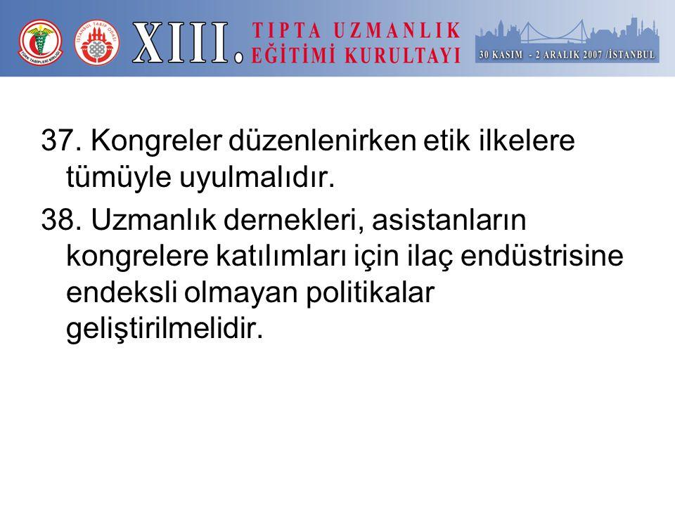 37. Kongreler düzenlenirken etik ilkelere tümüyle uyulmalıdır.