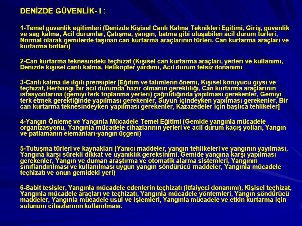DENİZDE GÜVENLİK- I :