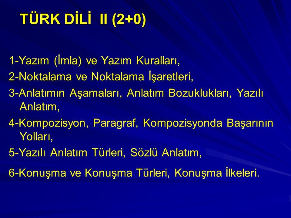TÜRK DİLİ II (2+0) 1-Yazım (İmla) ve Yazım Kuralları,