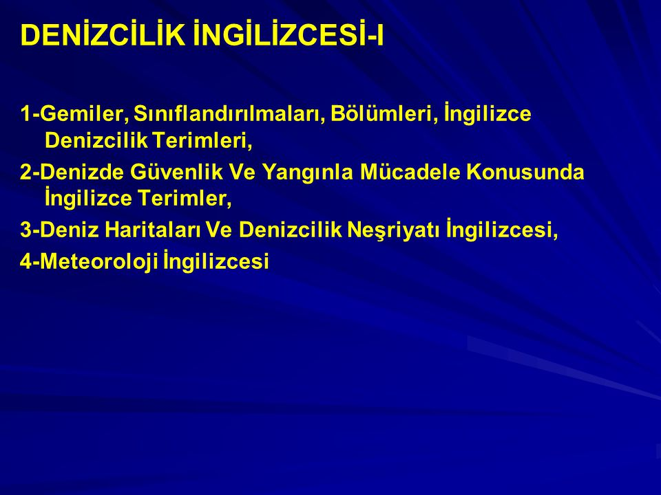 DENİZCİLİK İNGİLİZCESİ-I