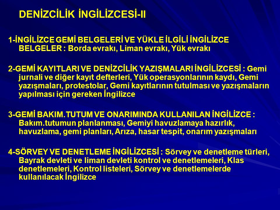DENİZCİLİK İNGİLİZCESİ-II
