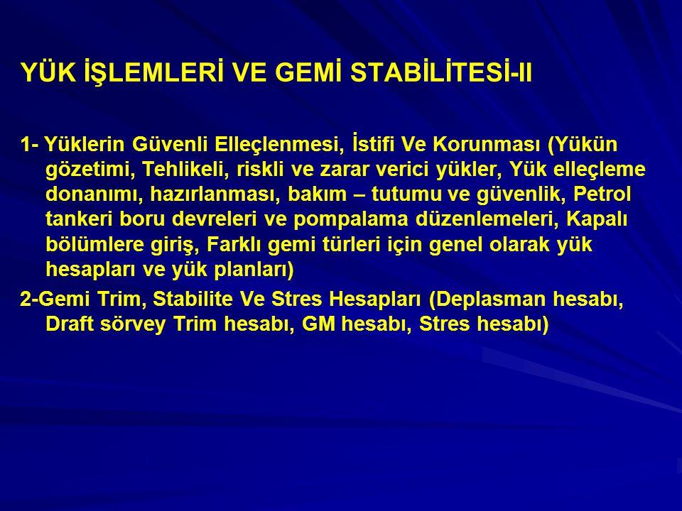 YÜK İŞLEMLERİ VE GEMİ STABİLİTESİ-II