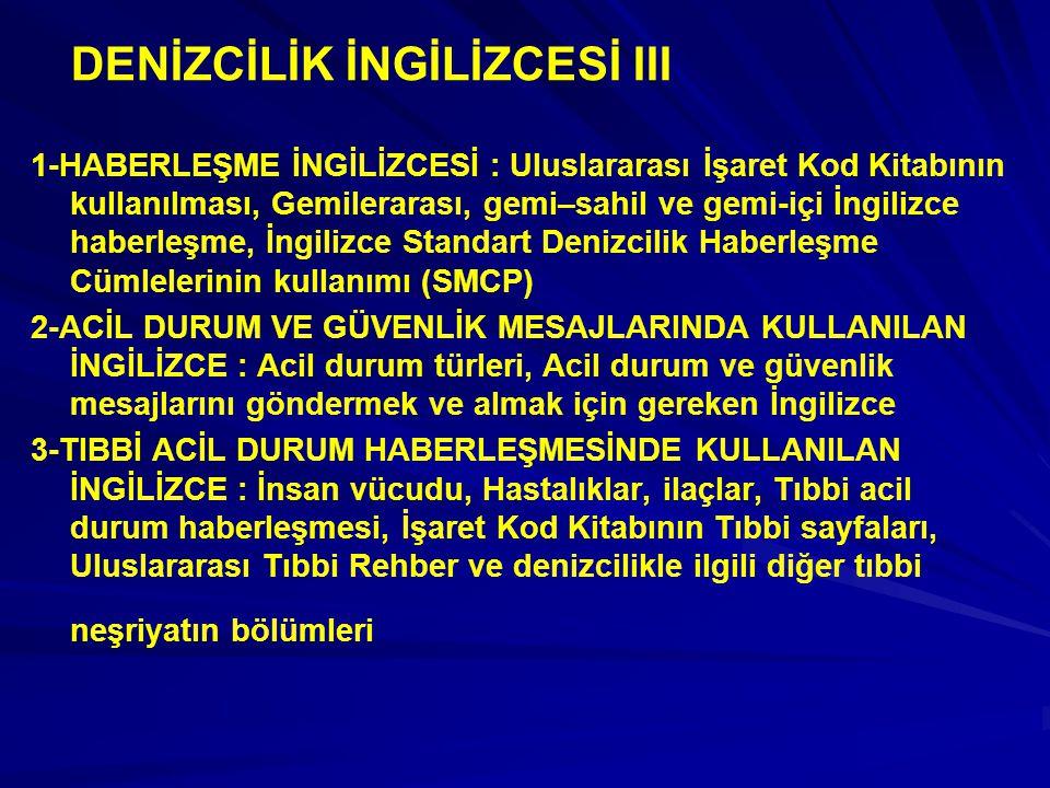 DENİZCİLİK İNGİLİZCESİ III