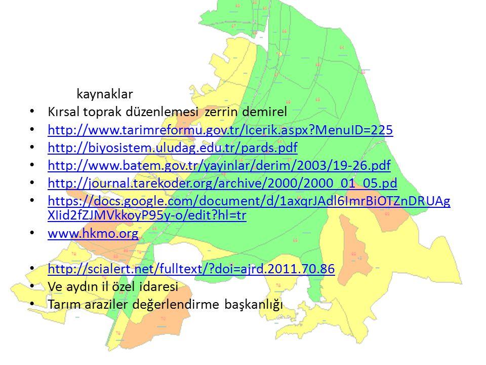 kaynaklar Kırsal toprak düzenlemesi zerrin demirel. http://www.tarimreformu.gov.tr/Icerik.aspx MenuID=225.