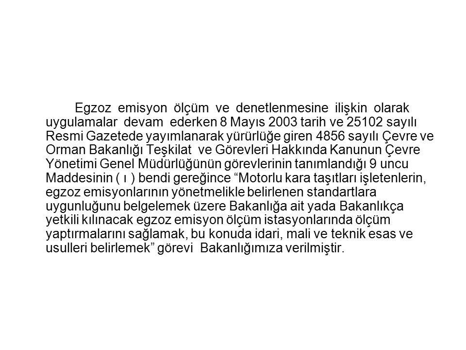 Egzoz emisyon ölçüm ve denetlenmesine ilişkin olarak uygulamalar devam ederken 8 Mayıs 2003 tarih ve 25102 sayılı Resmi Gazetede yayımlanarak yürürlüğe giren 4856 sayılı Çevre ve Orman Bakanlığı Teşkilat ve Görevleri Hakkında Kanunun Çevre Yönetimi Genel Müdürlüğünün görevlerinin tanımlandığı 9 uncu Maddesinin ( ı ) bendi gereğince Motorlu kara taşıtları işletenlerin, egzoz emisyonlarının yönetmelikle belirlenen standartlara uygunluğunu belgelemek üzere Bakanlığa ait yada Bakanlıkça yetkili kılınacak egzoz emisyon ölçüm istasyonlarında ölçüm yaptırmalarını sağlamak, bu konuda idari, mali ve teknik esas ve usulleri belirlemek görevi Bakanlığımıza verilmiştir.