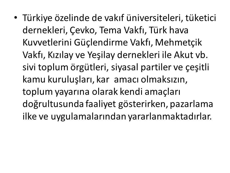 Türkiye özelinde de vakıf üniversiteleri, tüketici dernekleri, Çevko, Tema Vakfı, Türk hava Kuvvetlerini Güçlendirme Vakfı, Mehmetçik Vakfı, Kızılay ve Yeşilay dernekleri ile Akut vb.