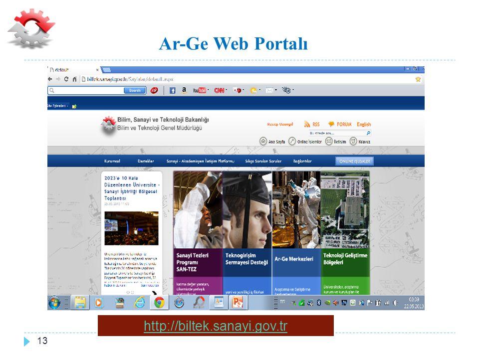 Ar-Ge Web Portalı http://biltek.sanayi.gov.tr