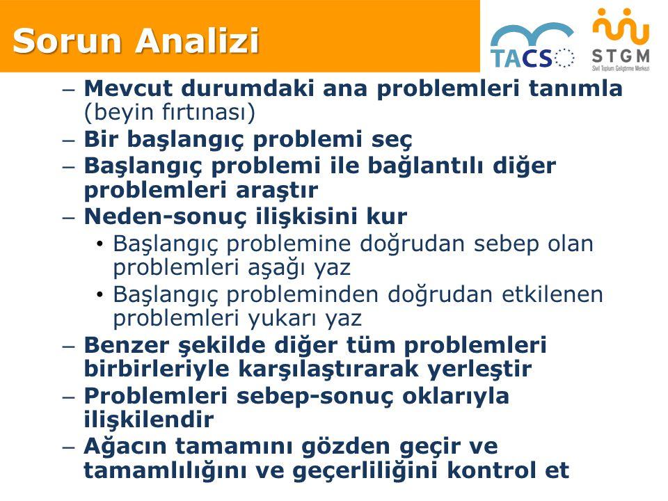 Sorun Analizi Mevcut durumdaki ana problemleri tanımla (beyin fırtınası) Bir başlangıç problemi seç.