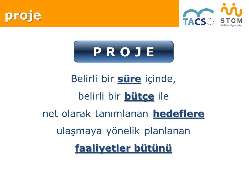 proje P R O J E Belirli bir süre içinde, belirli bir bütçe ile