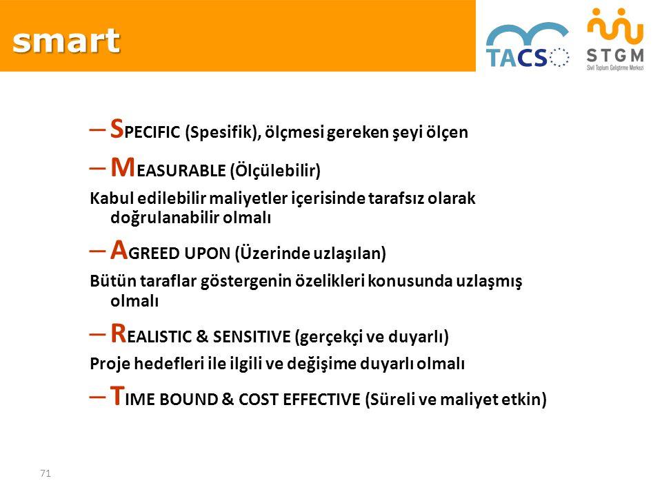 smart SPECIFIC (Spesifik), ölçmesi gereken şeyi ölçen