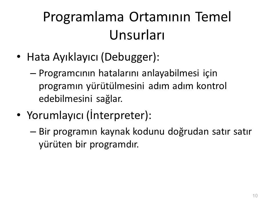 Programlama Ortamının Temel Unsurları