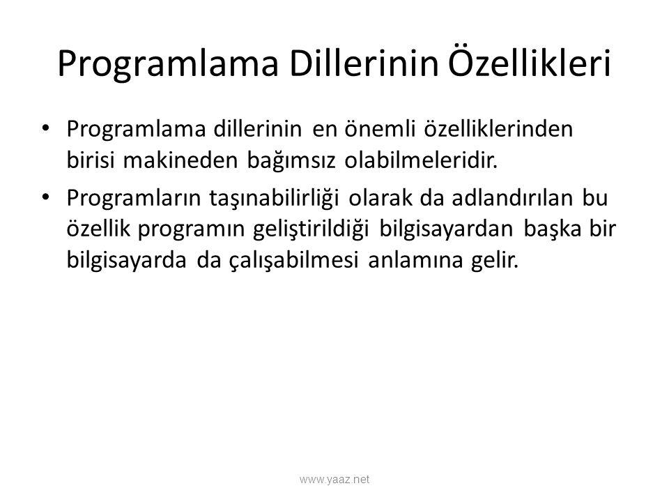 Programlama Dillerinin Özellikleri