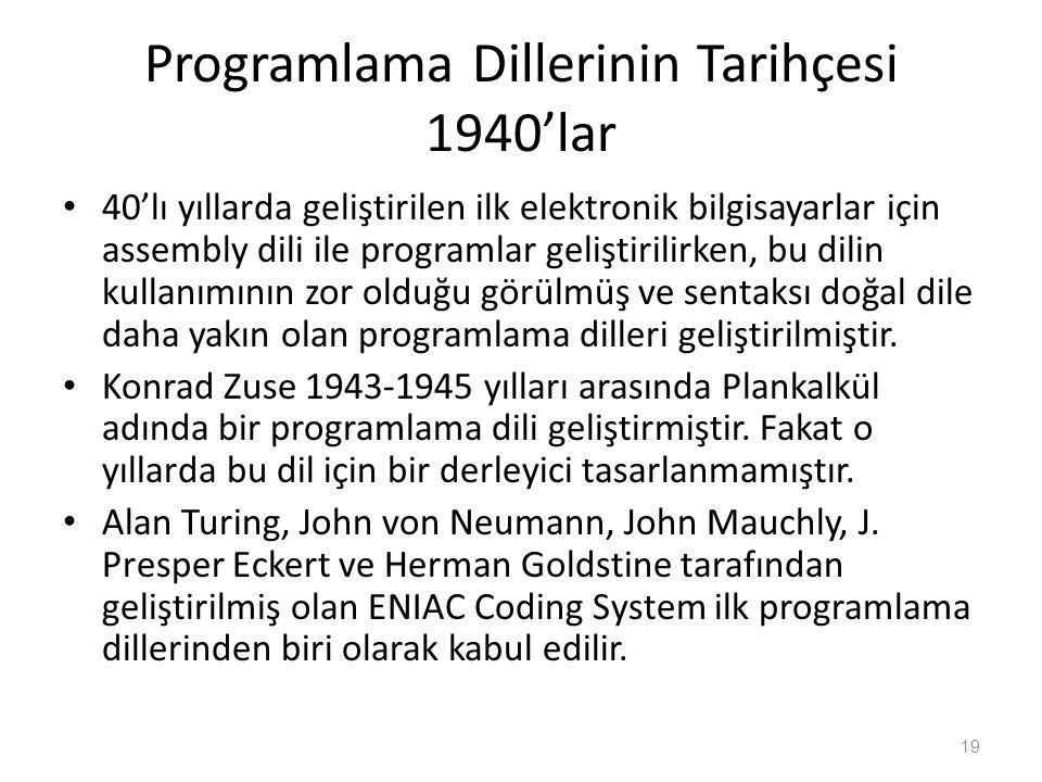 Programlama Dillerinin Tarihçesi 1940'lar