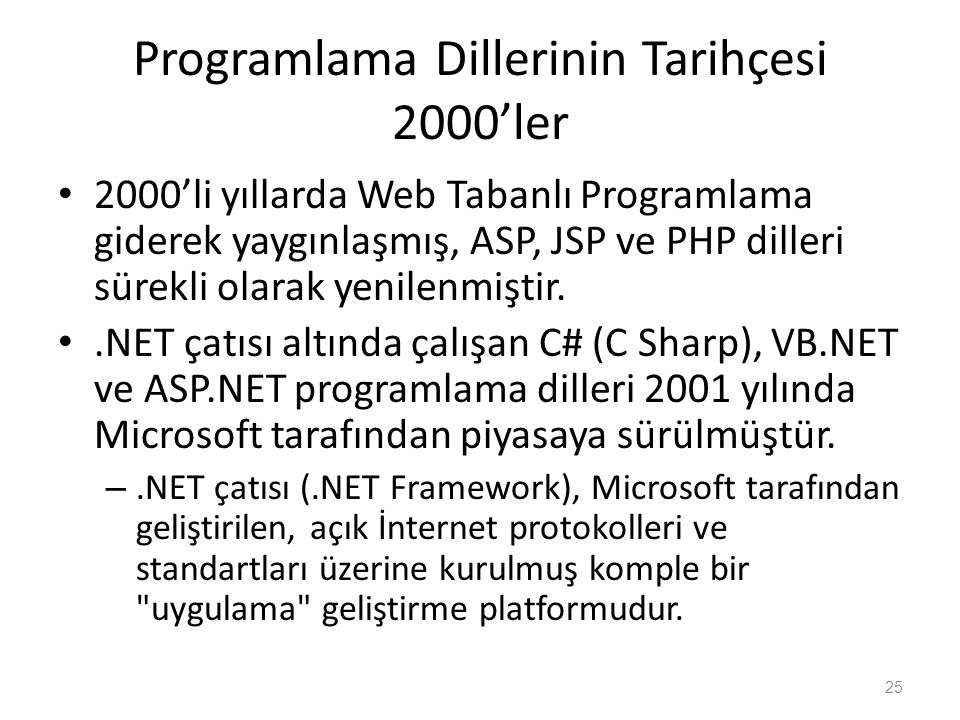 Programlama Dillerinin Tarihçesi 2000'ler