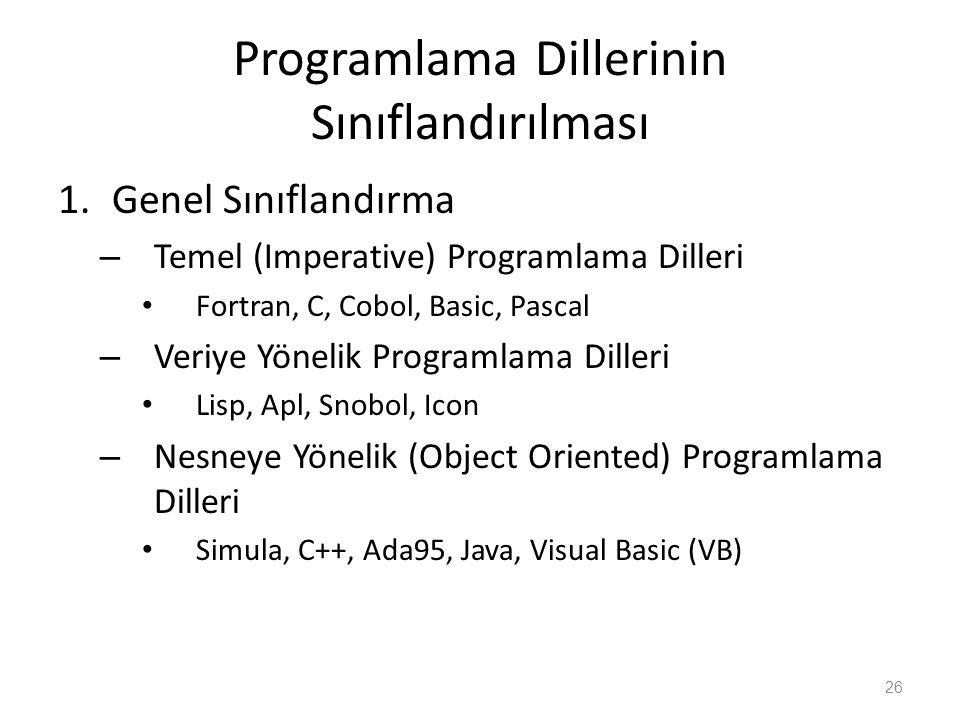 Programlama Dillerinin Sınıflandırılması