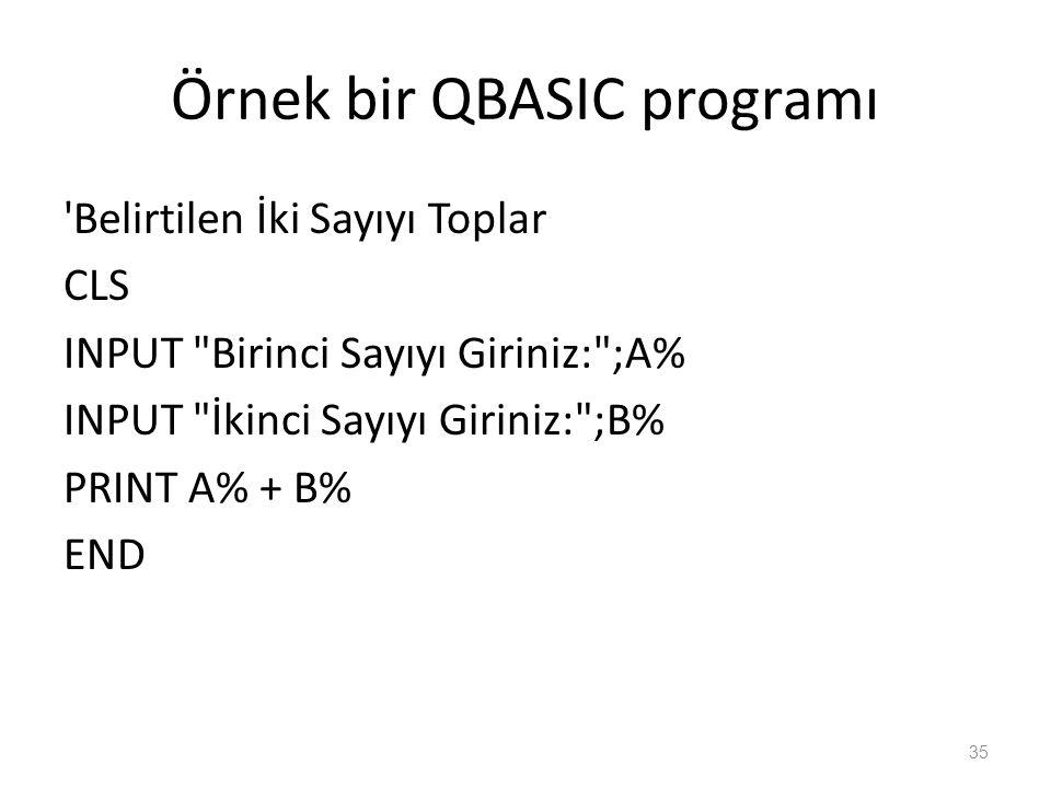 Örnek bir QBASIC programı