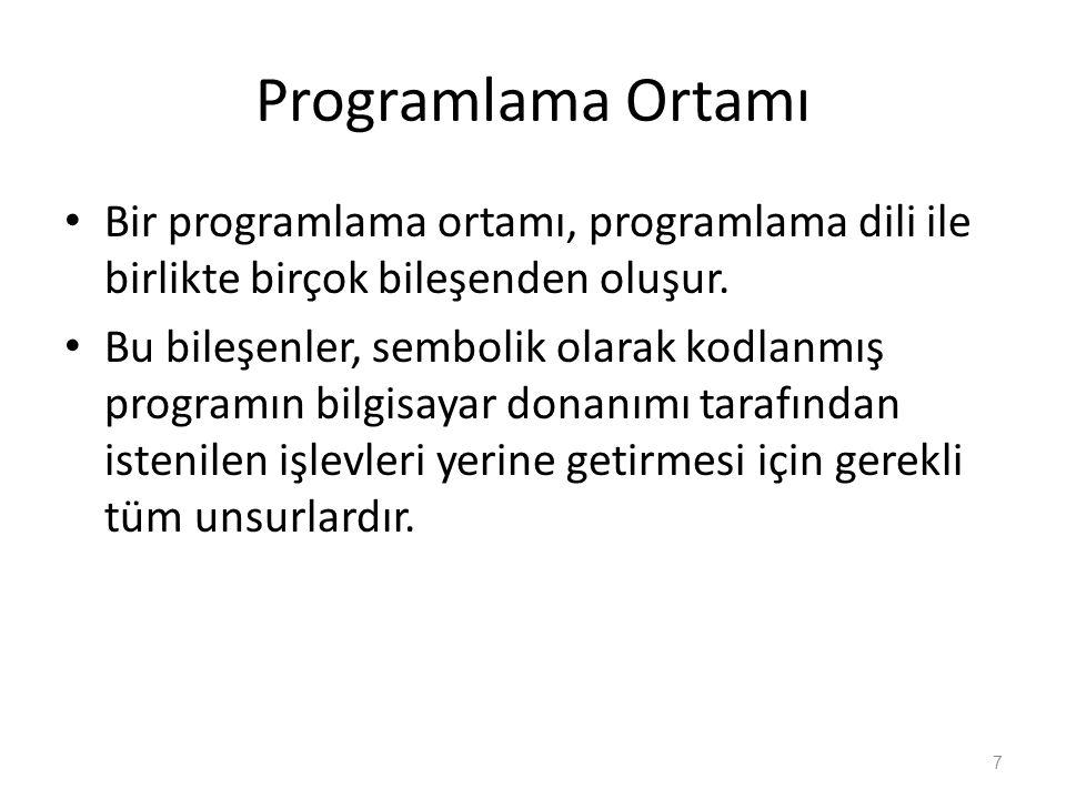 Programlama Ortamı Bir programlama ortamı, programlama dili ile birlikte birçok bileşenden oluşur.