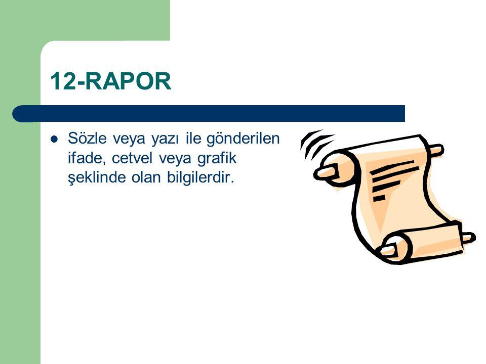 12-RAPOR Sözle veya yazı ile gönderilen ifade, cetvel veya grafik şeklinde olan bilgilerdir.