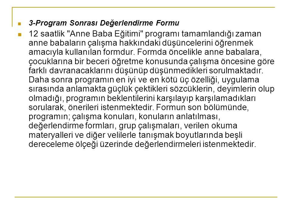 3-Program Sonrası Değerlendirme Formu