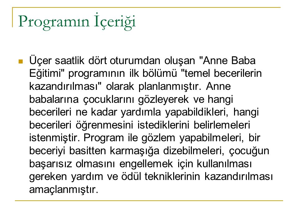 Programın İçeriği