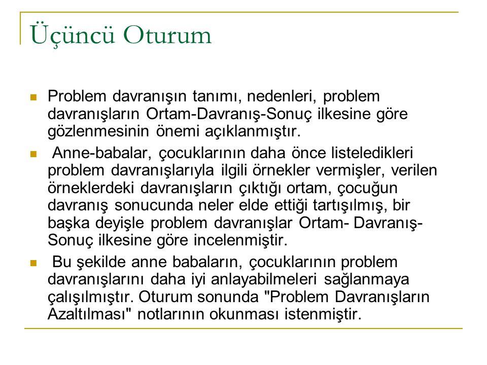 Üçüncü Oturum Problem davranışın tanımı, nedenleri, problem davranışların Ortam-Davranış-Sonuç ilkesine göre gözlenmesinin önemi açıklanmıştır.