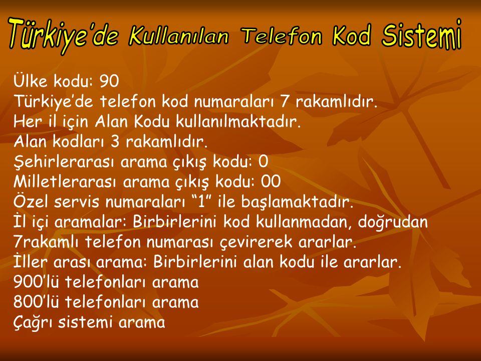 Türkiye'de Kullanılan Telefon Kod Sistemi