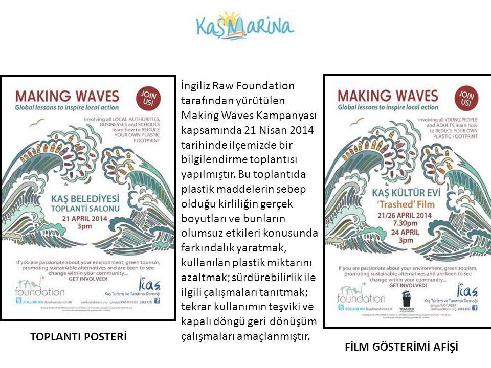 İngiliz Raw Foundation tarafından yürütülen Making Waves Kampanyası kapsamında 21 Nisan 2014 tarihinde ilçemizde bir bilgilendirme toplantısı yapılmıştır. Bu toplantıda plastik maddelerin sebep olduğu kirliliğin gerçek boyutları ve bunların olumsuz etkileri konusunda farkındalık yaratmak, kullanılan plastik miktarını azaltmak; sürdürebilirlik ile ilgili çalışmaları tanıtmak; tekrar kullanımın teşviki ve kapalı döngü geri dönüşüm çalışmaları amaçlanmıştır.