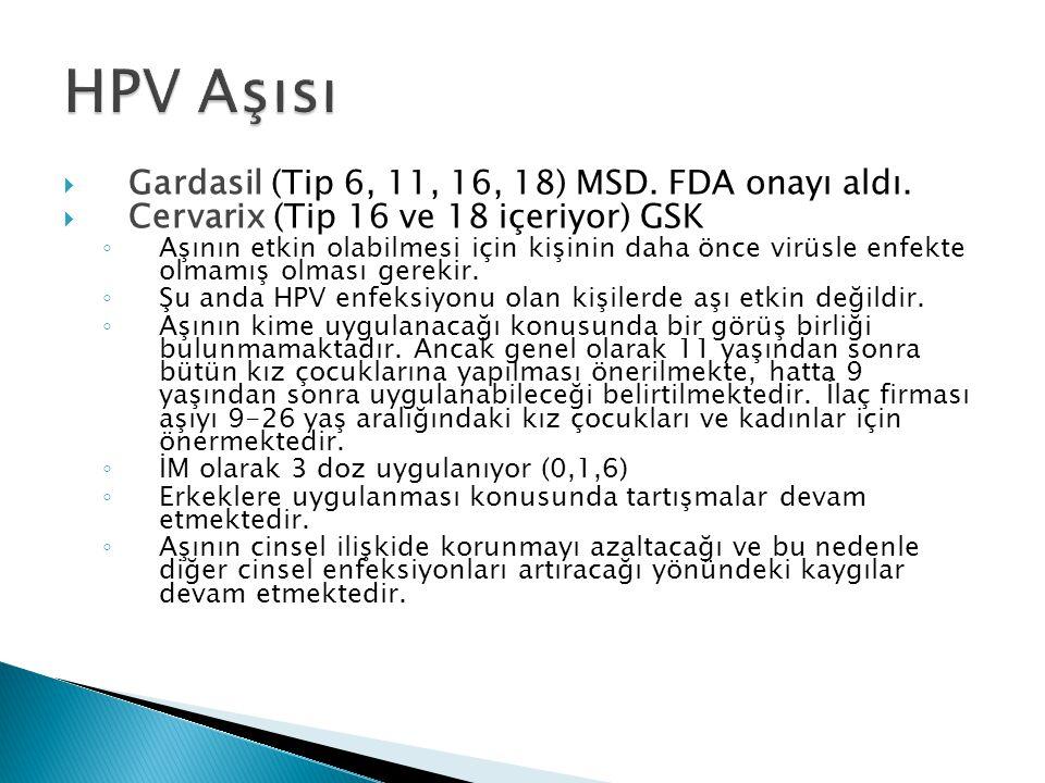 HPV Aşısı Gardasil (Tip 6, 11, 16, 18) MSD. FDA onayı aldı.