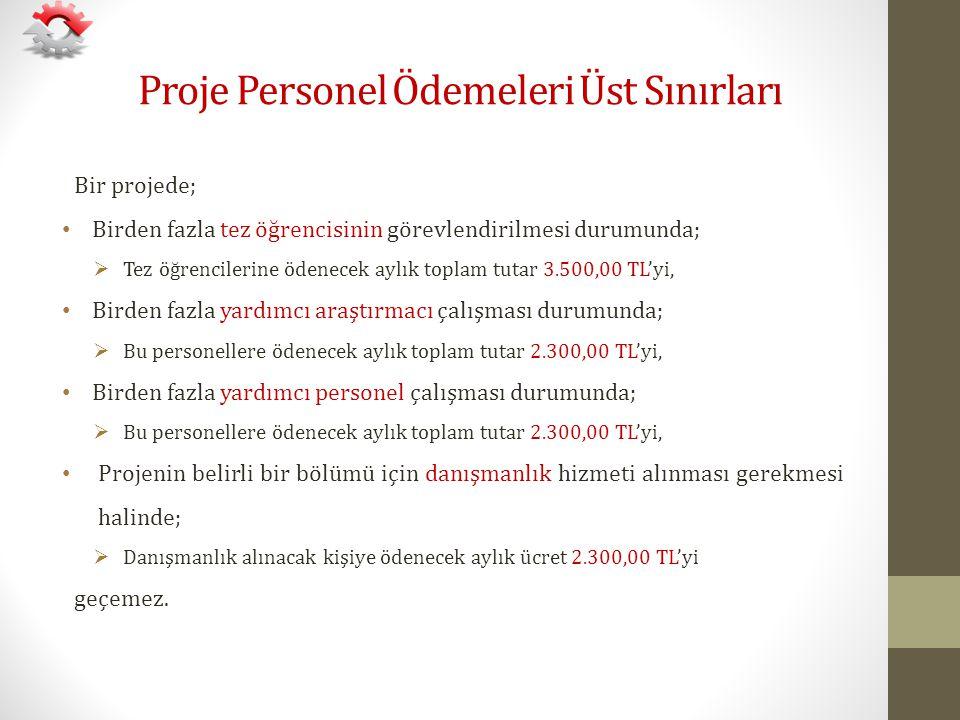 Proje Personel Ödemeleri Üst Sınırları