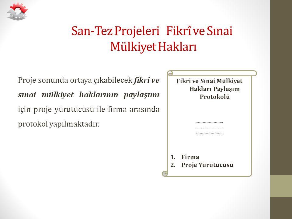 San-Tez Projeleri Fikrî ve Sınai Mülkiyet Hakları