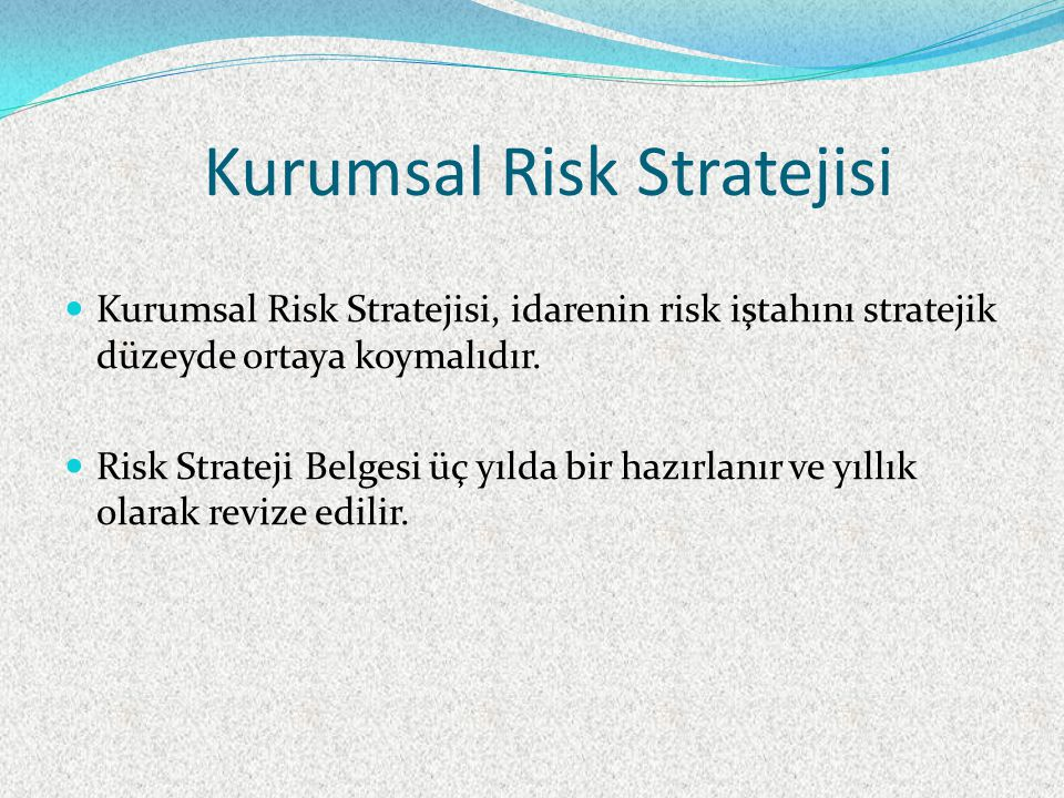 Kurumsal Risk Stratejisi