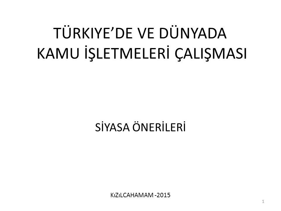 Türkiye'de ve Dünyada Kamu İşletmelerİ ÇalIşmasI